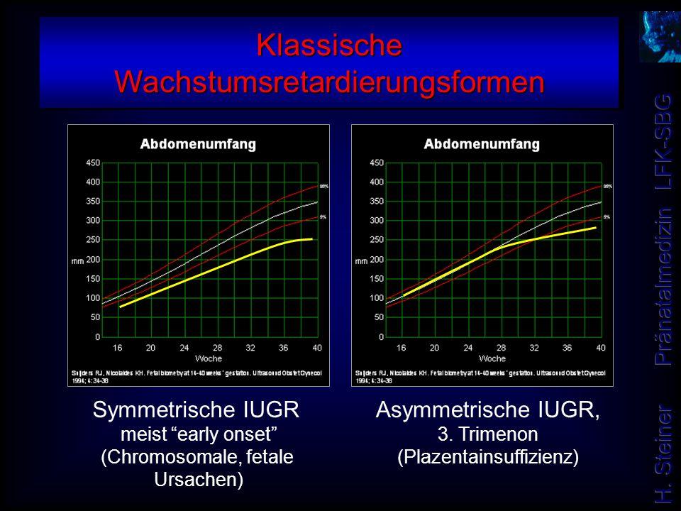 """Symmetrische IUGR meist """"early onset"""" (Chromosomale, fetale Ursachen) Asymmetrische IUGR, 3. Trimenon (Plazentainsuffizienz) Klassische Wachstumsretar"""