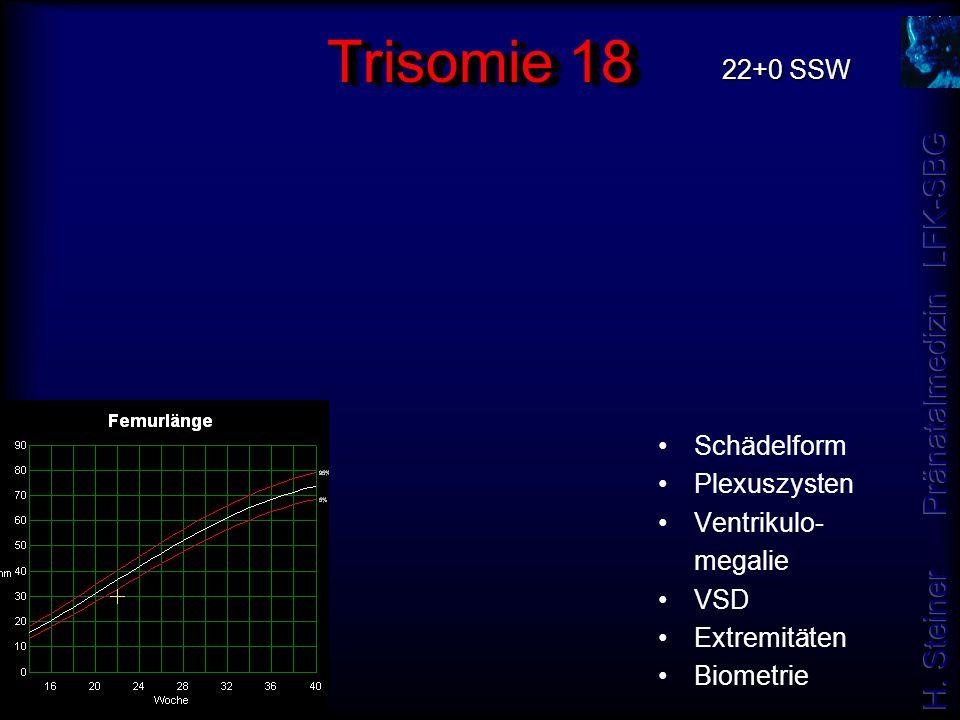 Trisomie 18 Schädelform Plexuszysten Ventrikulo- megalie VSD Extremitäten Biometrie 22+0 SSW