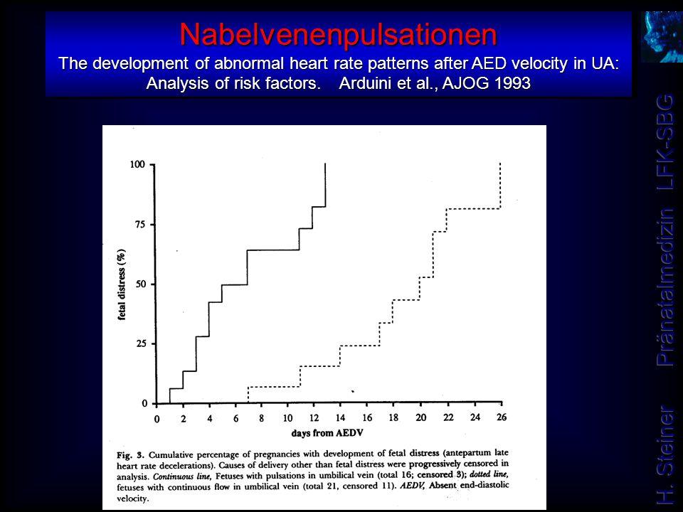Nabelvenenpulsationen The development of abnormal heart rate patterns after AED velocity in UA: Analysis of risk factors. Arduini et al., AJOG 1993