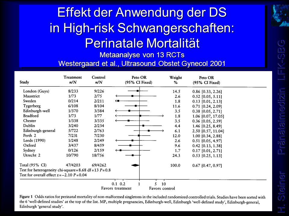 Effekt der Anwendung der DS in High-risk Schwangerschaften: Perinatale Mortalität Metaanalyse von 13 RCTs Westergaard et al., Ultrasound Obstet Gyneco