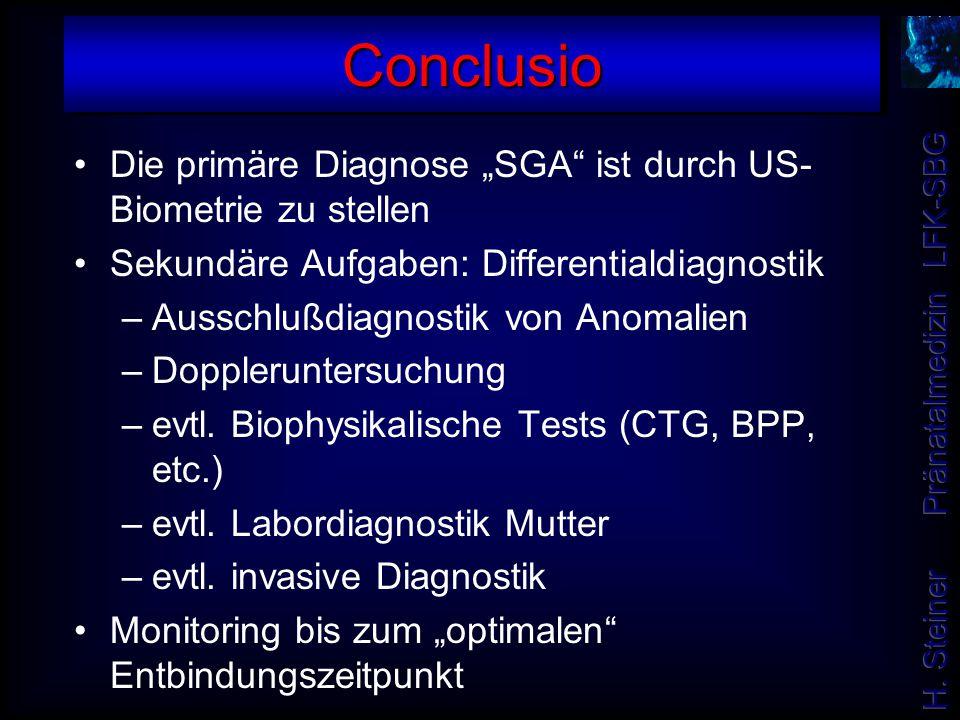 """Die primäre Diagnose """"SGA"""" ist durch US- Biometrie zu stellen Sekundäre Aufgaben: Differentialdiagnostik –Ausschlußdiagnostik von Anomalien –Dopplerun"""