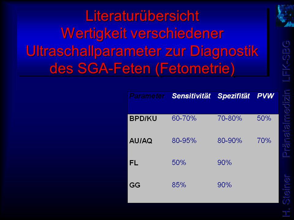 Literaturübersicht Wertigkeit verschiedener Ultraschallparameter zur Diagnostik des SGA-Feten (Fetometrie)