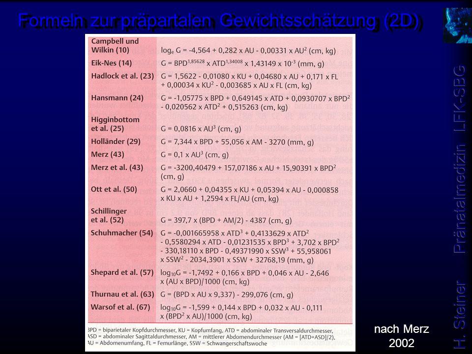 Formeln zur präpartalen Gewichtsschätzung (2D) nach Merz 2002