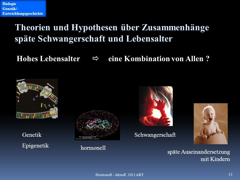 Hormonell - Aktuell 2011 ART 13 Theorien und Hypothesen über Zusammenhänge späte Schwangerschaft und Lebensalter Hohes Lebensalter  eine Kombination