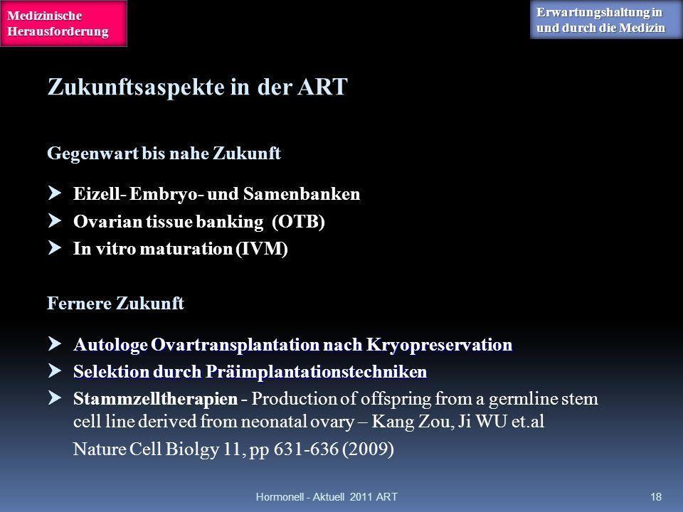 Gegenwart bis nahe Zukunft  Eizell- Embryo- und Samenbanken  Ovarian tissue banking (OTB)  In vitro maturation (IVM) Fernere Zukunft Autologe Ovart