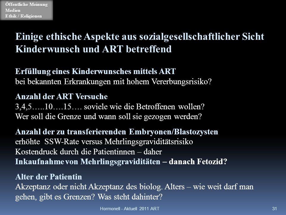 Hormonell - Aktuell 2011 ART31 Einige ethische Aspekte aus sozialgesellschaftlicher Sicht Kinderwunsch und ART betreffend Erfüllung eines Kinderwunsch