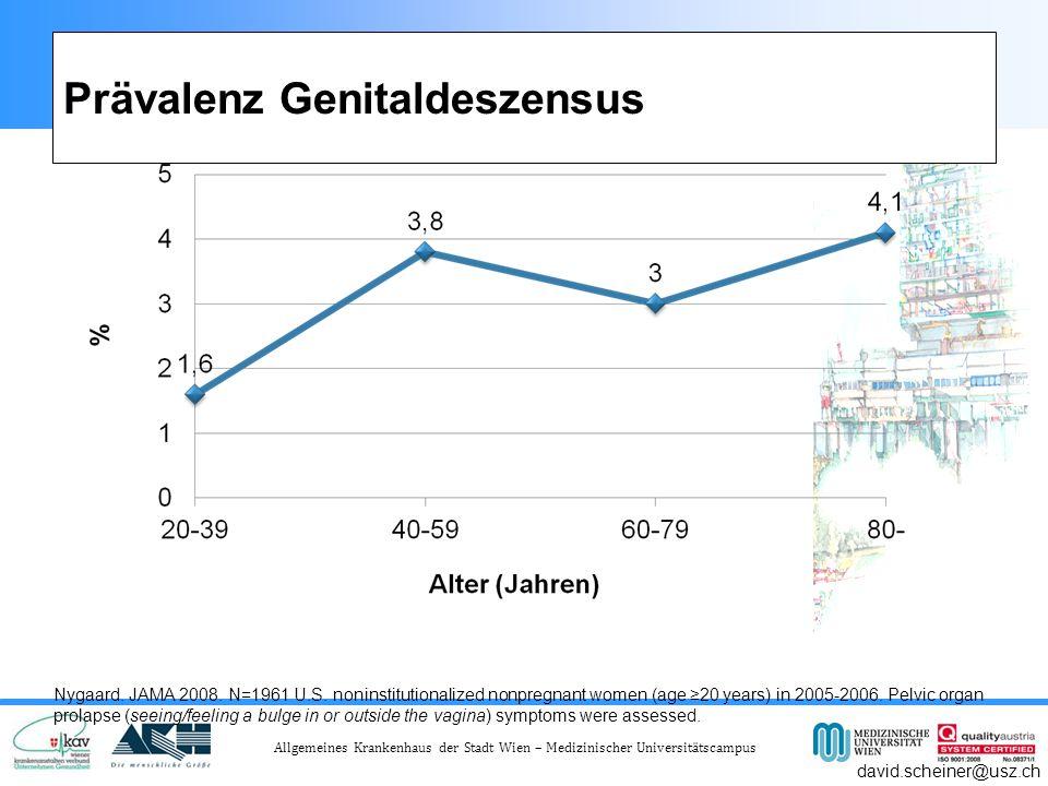 Allgemeines Krankenhaus der Stadt Wien – Medizinischer Universitätscampus Prävalenz Genitaldeszensus Nygaard.