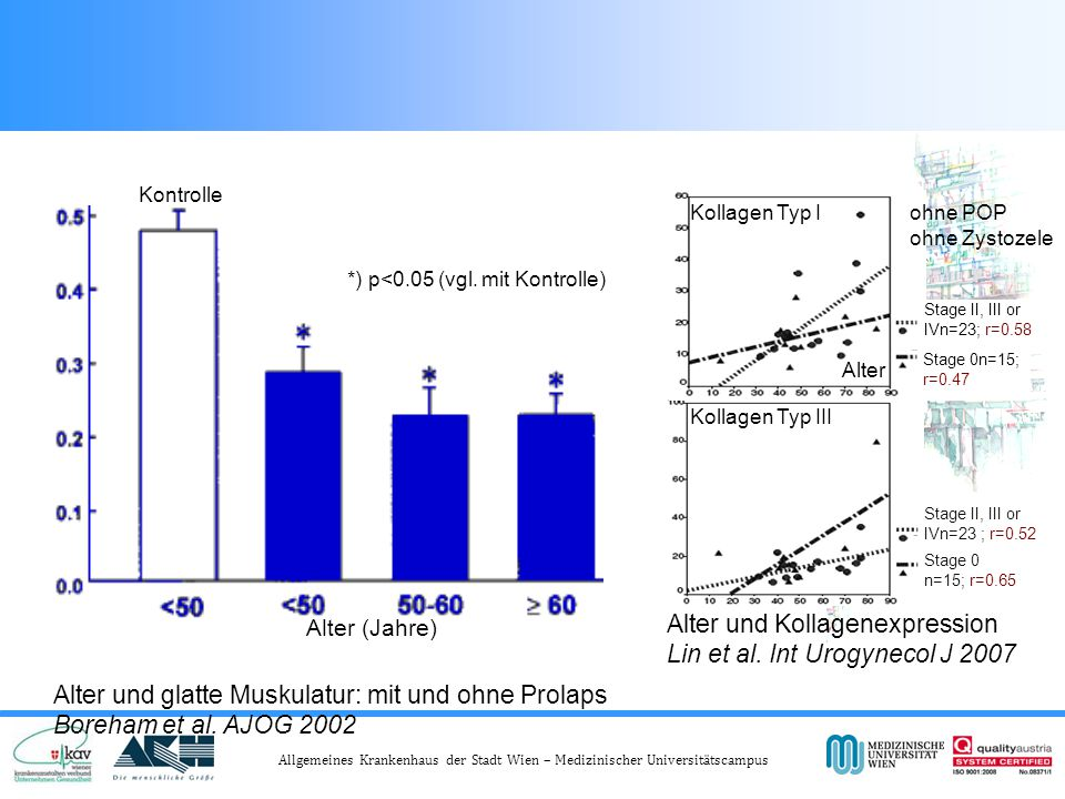 Alter und glatte Muskulatur: mit und ohne Prolaps Boreham et al.