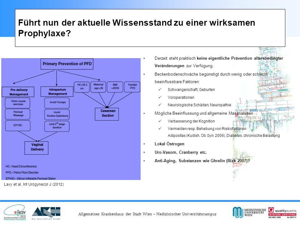 Allgemeines Krankenhaus der Stadt Wien – Medizinischer Universitätscampus Führt nun der aktuelle Wissensstand zu einer wirksamen Prophylaxe.