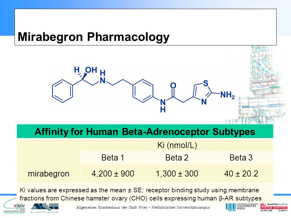 Allgemeines Krankenhaus der Stadt Wien – Medizinischer Universitätscampus Mirabegron Pharmacology Affinity for Human Beta-Adrenoceptor Subtypes Ki (nmol/L) Beta 1Beta 2Beta 3 mirabegron4,200 ± 9001,300 ± 30040 ± 20.2 Ki values are expressed as the mean ± SE; receptor binding study using membrane fractions from Chinese hamster ovary (CHO) cells expressing human β-AR subtypes