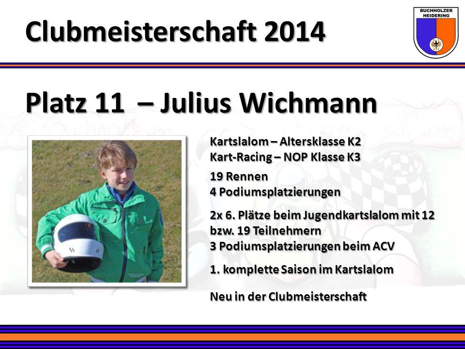 Platz 11 – Julius Wichmann Clubmeisterschaft 2014 Kartslalom – Altersklasse K2 Kart-Racing – NOP Klasse K3 19 Rennen 4 Podiumsplatzierungen 2x 6. Plät