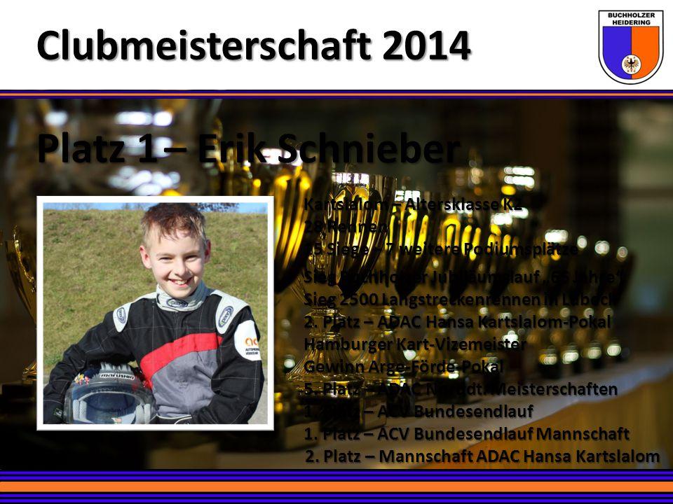 – Erik Schnieber Platz 1 Clubmeisterschaft 2014 Kartslalom – Altersklasse K2 28 Rennen 15 Siege – 7 weitere Podiumsplätze Sieg Buchholzer Jubiläumslau