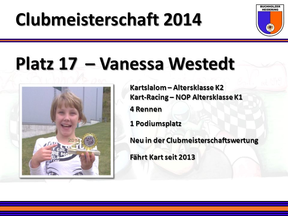 Platz 17 – Vanessa Westedt Clubmeisterschaft 2014 Kartslalom – Altersklasse K2 Kart-Racing – NOP Altersklasse K1 4 Rennen 1 Podiumsplatz Neu in der Cl