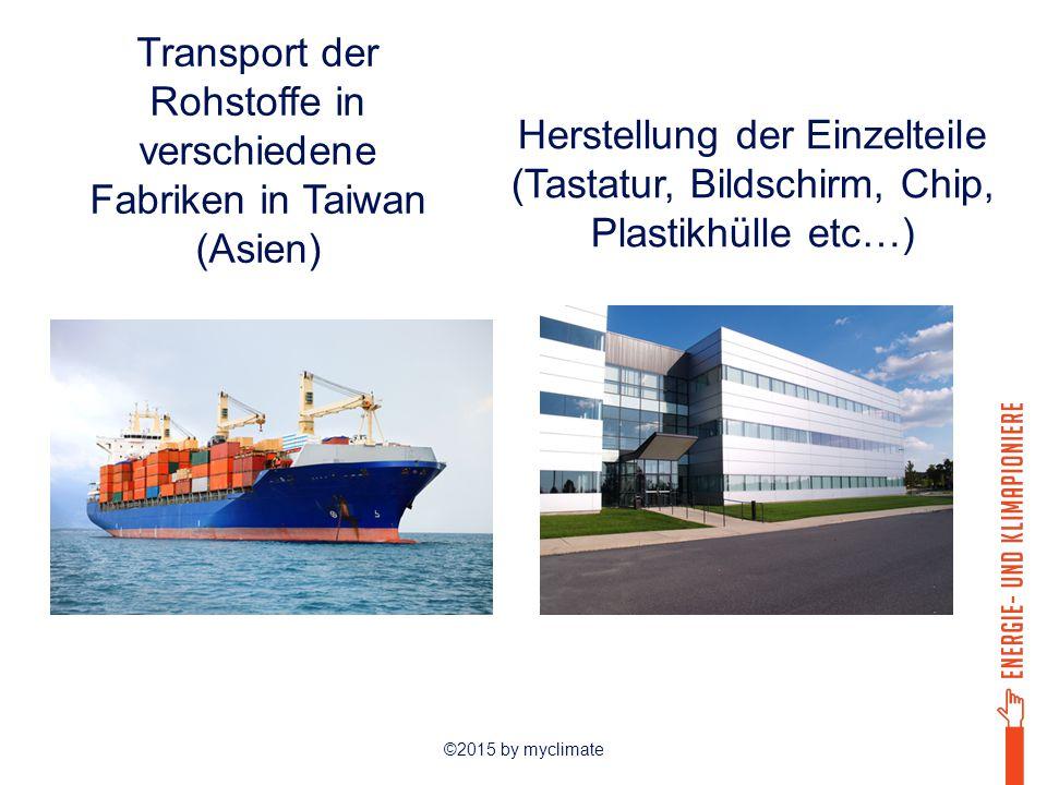 ©2015 by myclimate Transport der Rohstoffe in verschiedene Fabriken in Taiwan (Asien) Herstellung der Einzelteile (Tastatur, Bildschirm, Chip, Plastik