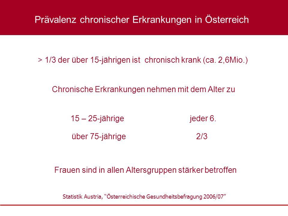 """Statistik Austria, """"Österreichische Gesundheitsbefragung 2006/07"""" Chronische Erkrankungen nehmen mit dem Alter zu > 1/3 der über 15-jährigen ist chron"""