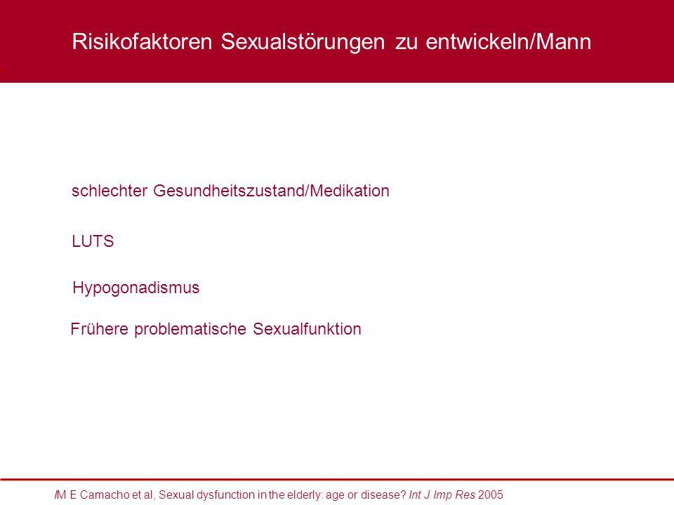 schlechter Gesundheitszustand/Medikation LUTS Hypogonadismus XXXX Risikofaktoren Sexualstörungen zu entwickeln/Mann Frühere problematische Sexualfunkt