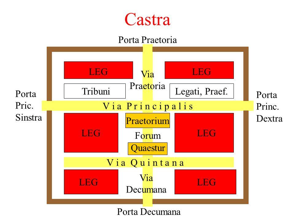Offiziere 6 tribuni militi (= Kommandanten der cohortes): 1 praefectus castrorum = Lagerkommandant 1 praefectus fabrum = Pioniere, Belagerungsartiller