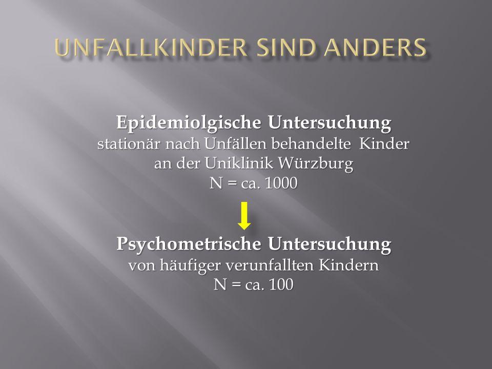 Epidemiolgische Untersuchung stationär nach Unfällen behandelte Kinder an der Uniklinik Würzburg N = ca.