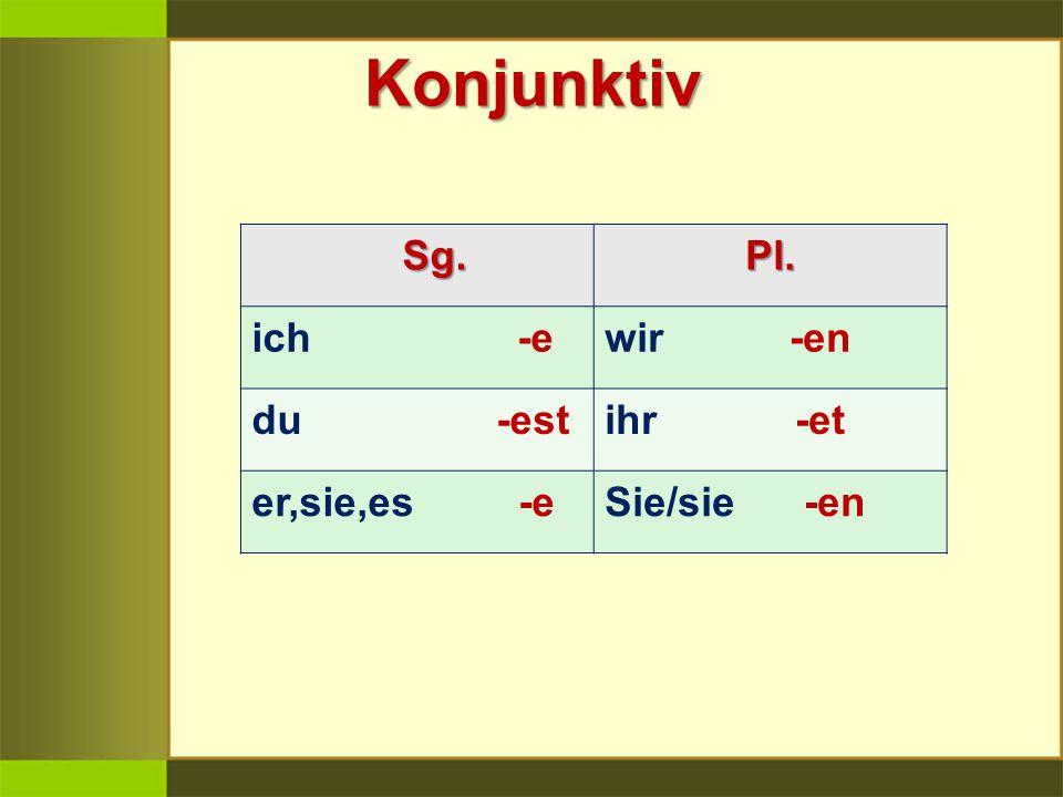 Konjunktiv Sg. Pl. ich -ewir -en du -estihr -et er,sie,es -eSie/sie -en
