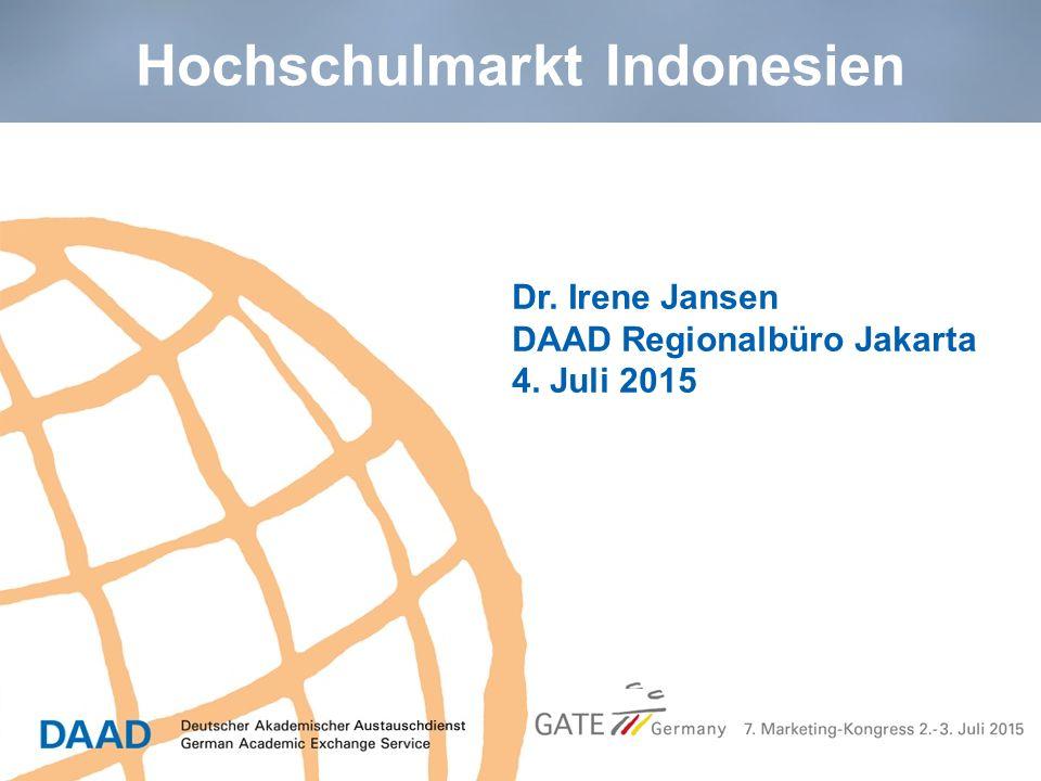 Hochschulmarkt Indonesien Dr. Irene Jansen DAAD Regionalbüro Jakarta 4. Juli 2015