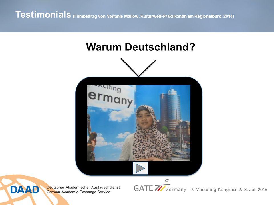 Testimonials (Filmbeitrag von Stefanie Mallow, Kulturweit-Praktikantin am Regionalbüro, 2014) Warum Deutschland?