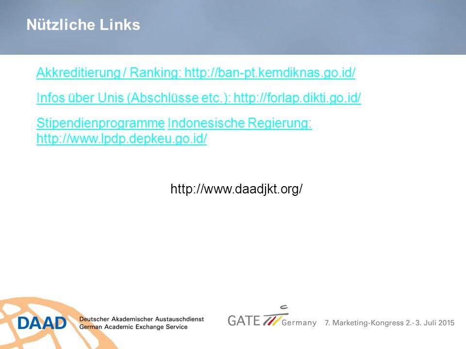 Akkreditierung / Ranking: http://ban-pt.kemdiknas.go.id/ Infos über Unis (Abschlüsse etc.): http://forlap.dikti.go.id/ StipendienprogrammeStipendienpr