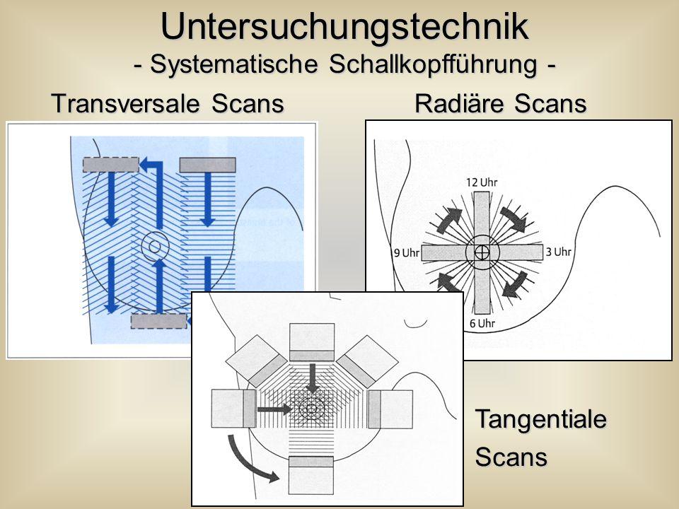 Transversale Scans Radiäre Scans Transversale Scans Radiäre Scans Untersuchungstechnik - Systematische Schallkopfführung - TangentialeScans