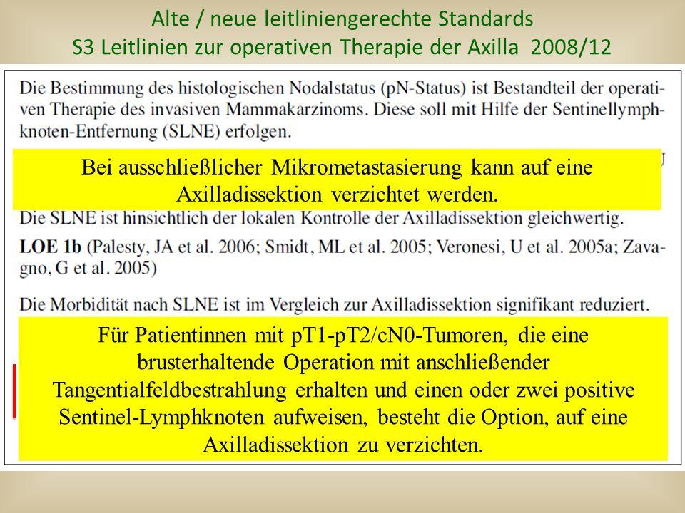 Alte / neue leitliniengerechte Standards S3 Leitlinien zur operativen Therapie der Axilla 2008/12 Bei ausschließlicher Mikrometastasierung kann auf eine Axilladissektion verzichtet werden.