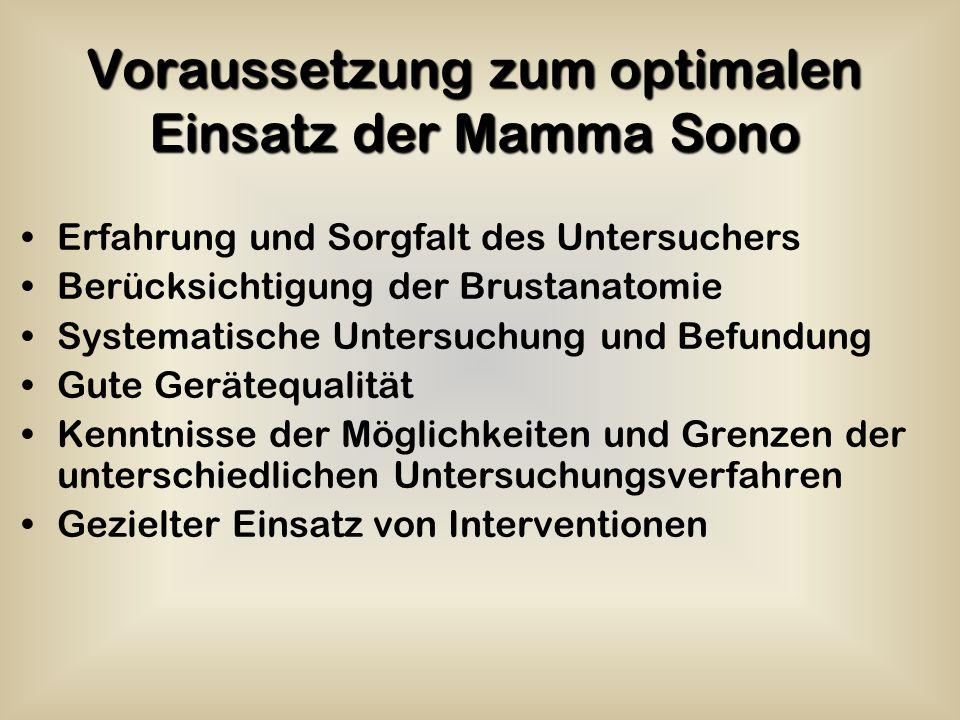 Voraussetzung zum optimalen Einsatz der Mamma Sono Erfahrung und Sorgfalt des Untersuchers Berücksichtigung der Brustanatomie Systematische Untersuchu