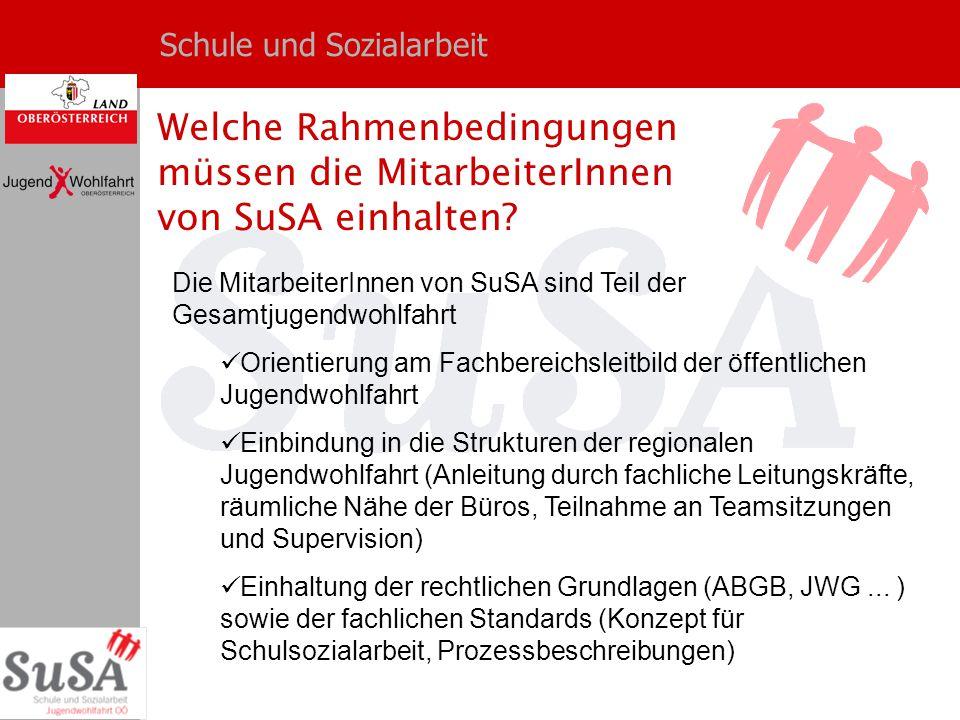 Schule und Sozialarbeit Welche Rahmenbedingungen müssen die MitarbeiterInnen von SuSA einhalten? Die MitarbeiterInnen von SuSA sind Teil der Gesamtjug