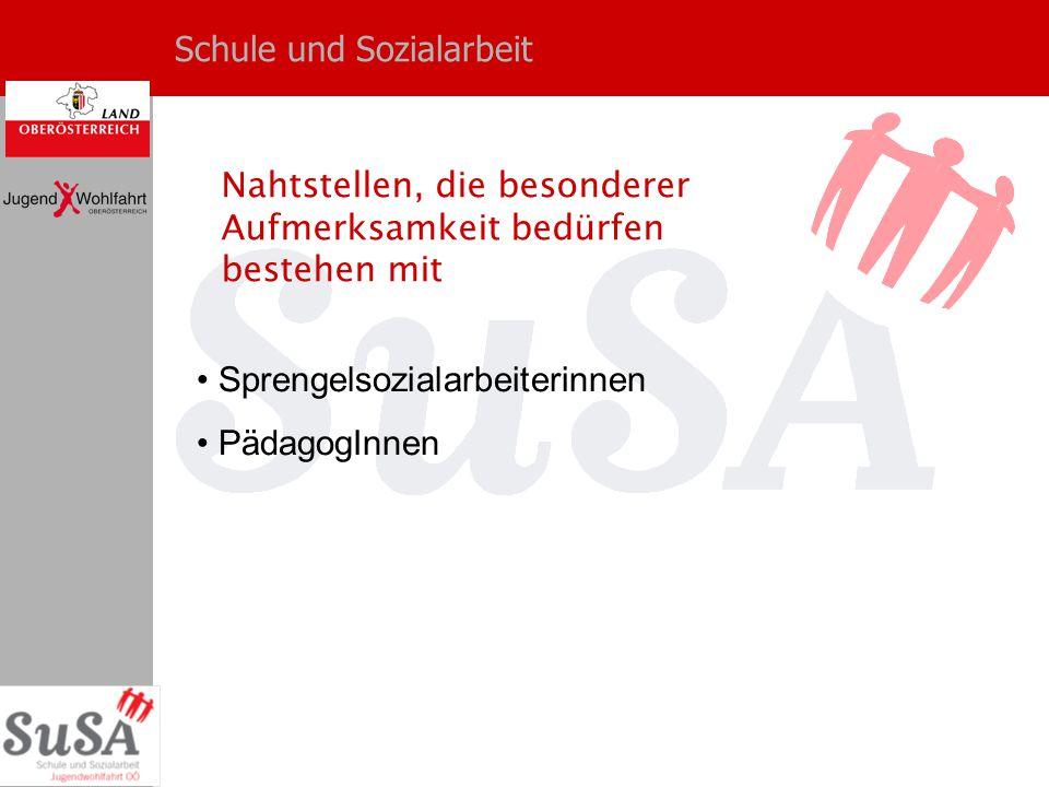Schule und Sozialarbeit Sprengelsozialarbeiterinnen PädagogInnen Nahtstellen, die besonderer Aufmerksamkeit bedürfen bestehen mit