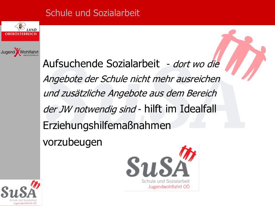 Schule und Sozialarbeit Aufsuchende Sozialarbeit - dort wo die Angebote der Schule nicht mehr ausreichen und zusätzliche Angebote aus dem Bereich der