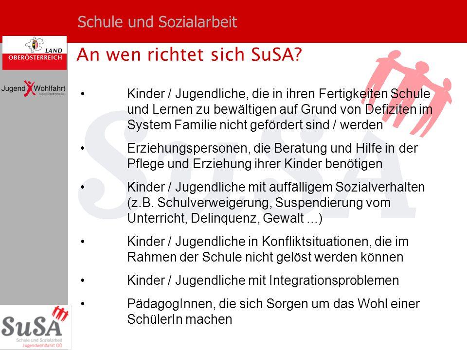 Schule und Sozialarbeit An wen richtet sich SuSA? Kinder / Jugendliche, die in ihren Fertigkeiten Schule und Lernen zu bewältigen auf Grund von Defizi