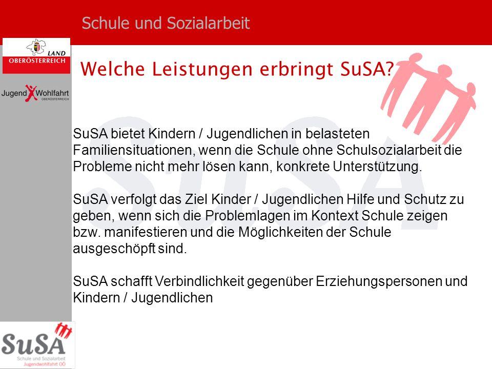 Schule und Sozialarbeit Welche Leistungen erbringt SuSA? SuSA bietet Kindern / Jugendlichen in belasteten Familiensituationen, wenn die Schule ohne Sc