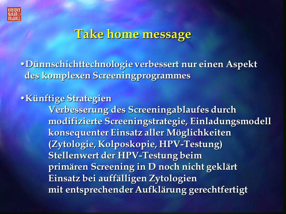 Take home message Dünnschichttechnologie verbessert nur einen Aspekt des komplexen Screeningprogrammes Dünnschichttechnologie verbessert nur einen Asp