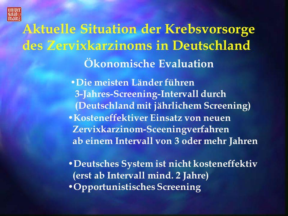 Aktuelle Situation der Krebsvorsorge des Zervixkarzinoms in Deutschland Die meisten Länder führen 3-Jahres-Screening-Intervall durch (Deutschland mit