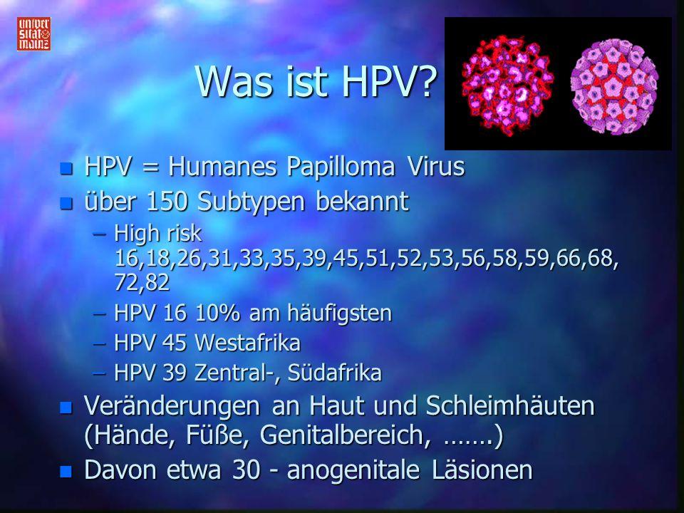 Was ist HPV? n HPV = Humanes Papilloma Virus n über 150 Subtypen bekannt –High risk 16,18,26,31,33,35,39,45,51,52,53,56,58,59,66,68, 72,82 –HPV 16 10%