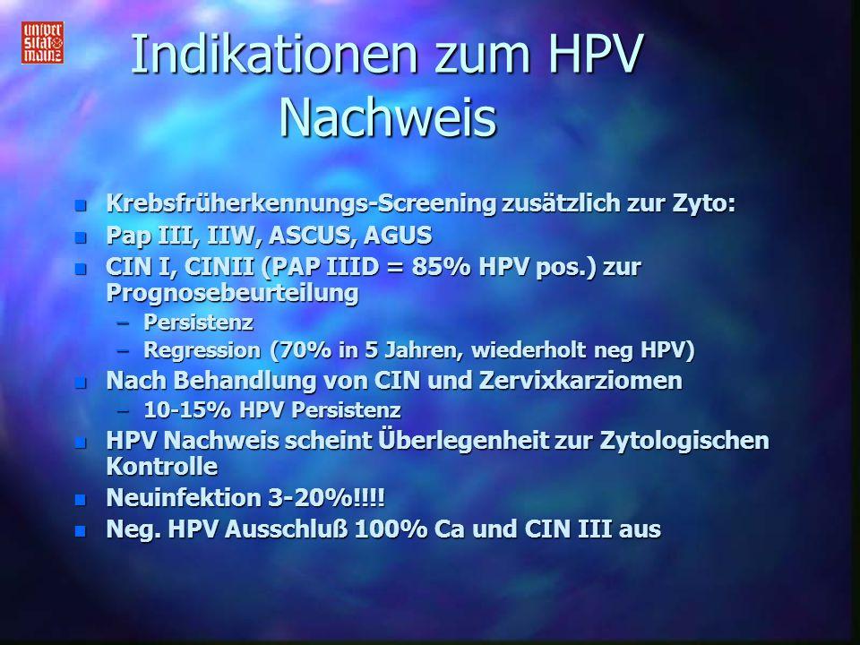 Indikationen zum HPV Nachweis n Krebsfrüherkennungs-Screening zusätzlich zur Zyto: n Pap III, IIW, ASCUS, AGUS n CIN I, CINII (PAP IIID = 85% HPV pos.