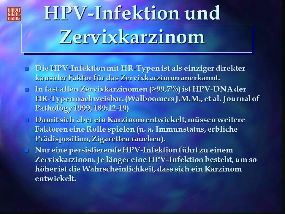 HPV-Infektion und Zervixkarzinom n Die HPV-Infektion mit HR-Typen ist als einziger direkter kausaler Faktor für das Zervixkarzinom anerkannt. n In fas