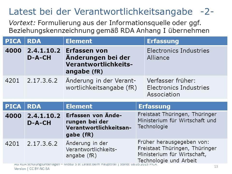 AG RDA Schulungsunterlagen – Modul 5 B: Latest beim Haupttitel | Stand: 08.05.2015 PICA Version | CC BY-NC-SA 13 PICARDAElementErfassung 40002.4.1.10.