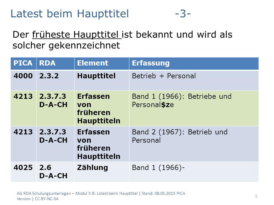 5 PICARDAElementErfassung 40002.3.2HaupttitelBetrieb + Personal 42132.3.7.3 D-A-CH Erfassen von früheren Haupttiteln Band 1 (1966): Betriebe und Perso