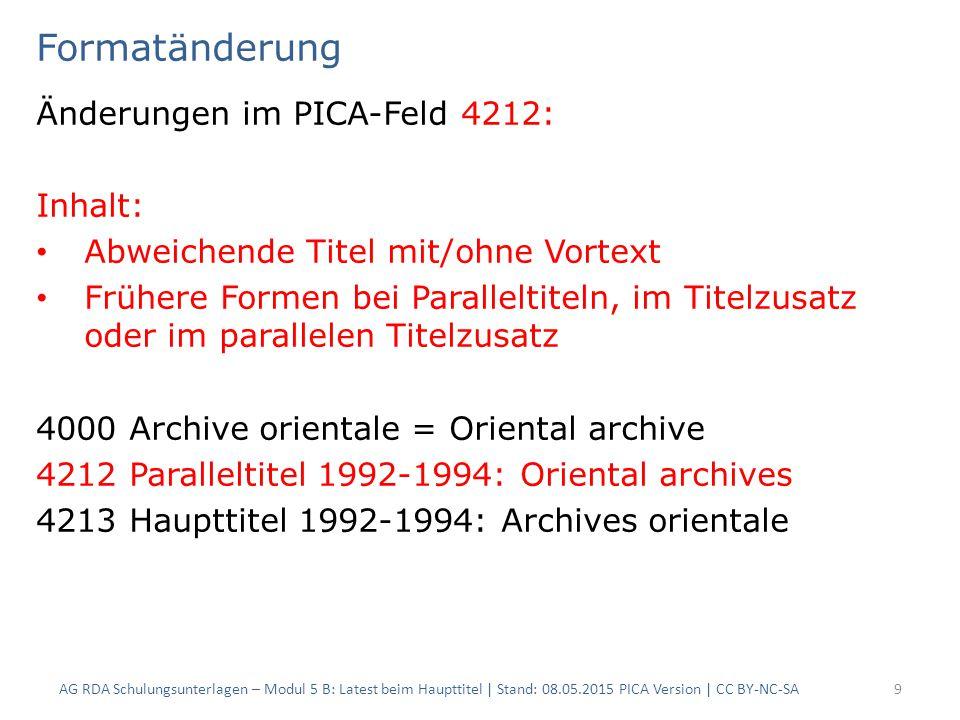 Formatänderung Änderungen im PICA-Feld 4212: Inhalt: Abweichende Titel mit/ohne Vortext Frühere Formen bei Paralleltiteln, im Titelzusatz oder im para