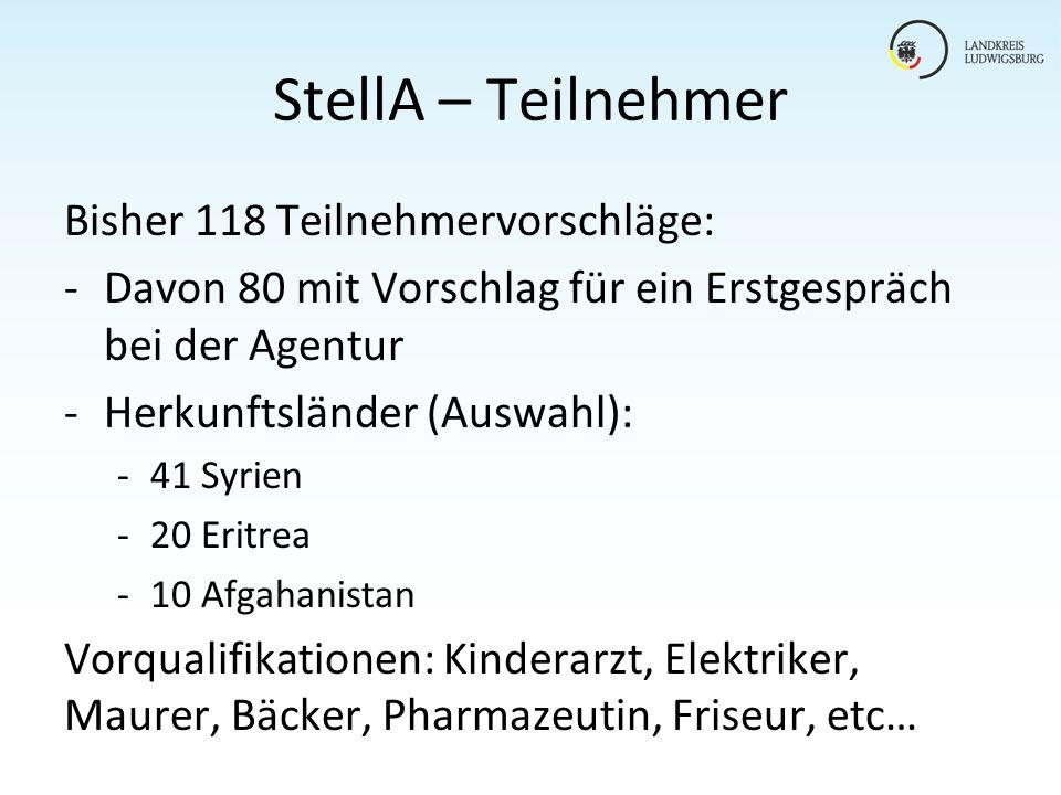 StellA – Teilnehmer Bisher 118 Teilnehmervorschläge: -Davon 80 mit Vorschlag für ein Erstgespräch bei der Agentur -Herkunftsländer (Auswahl): -41 Syri