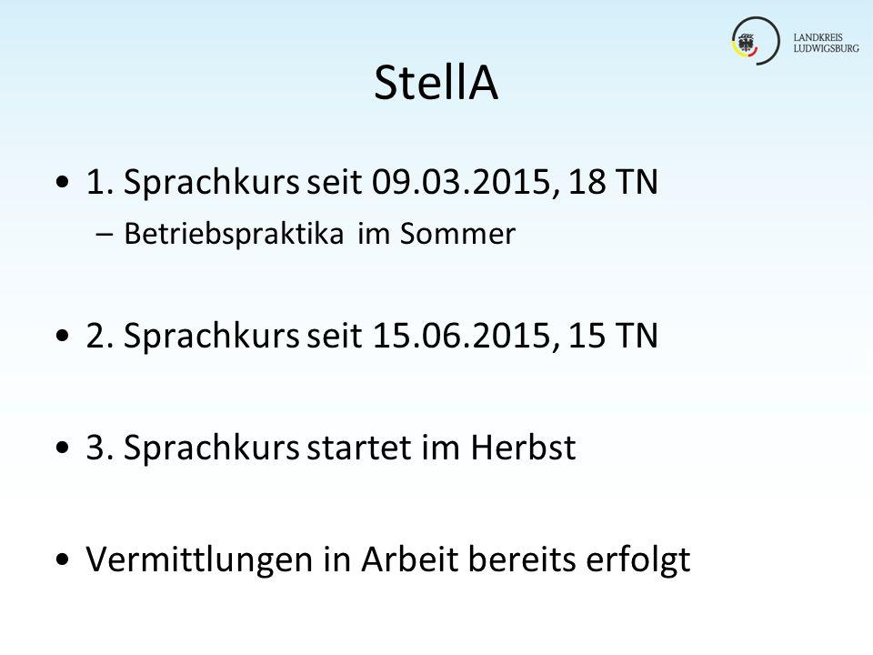 StellA 1. Sprachkurs seit 09.03.2015, 18 TN –Betriebspraktika im Sommer 2. Sprachkurs seit 15.06.2015, 15 TN 3. Sprachkurs startet im Herbst Vermittlu
