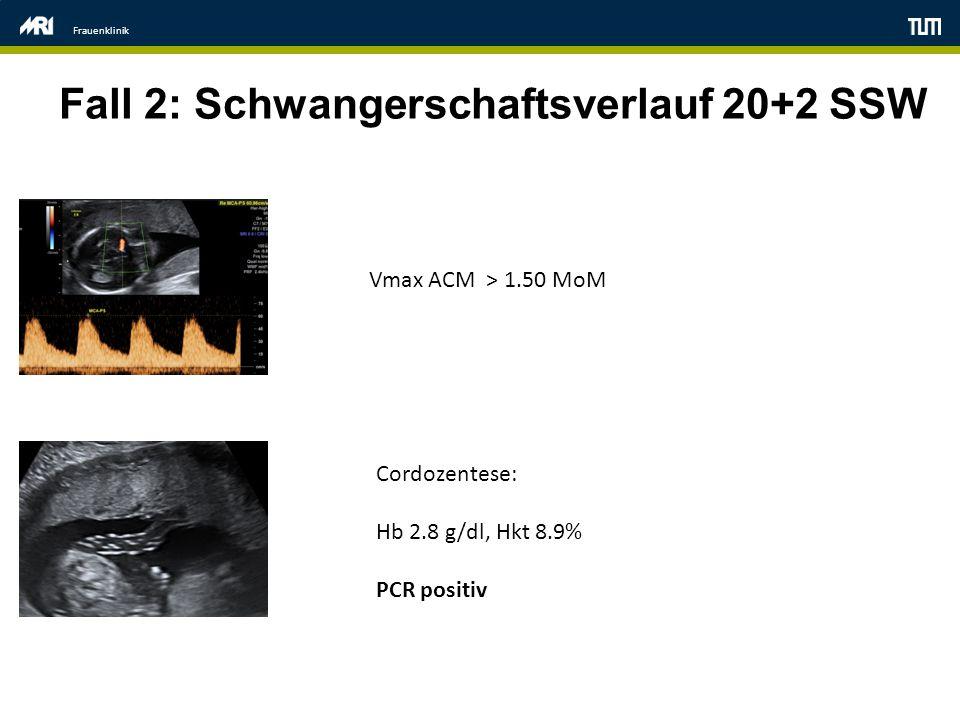 Frauenklinik Fall 2: Schwangerschaftsverlauf 20+2 SSW Vmax ACM > 1.50 MoM Cordozentese: Hb 2.8 g/dl, Hkt 8.9% PCR positiv