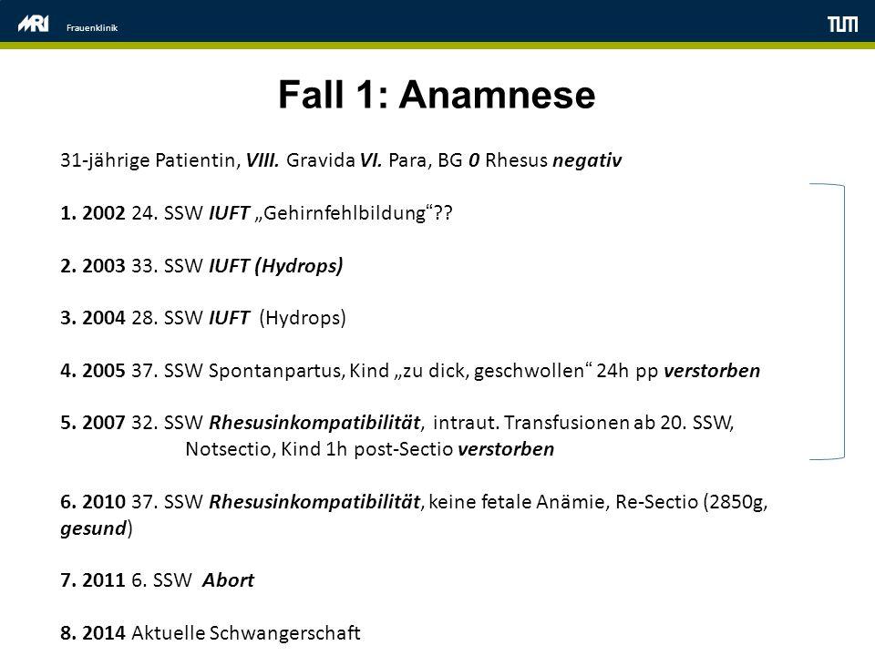 "Frauenklinik Fall 1: Anamnese 31-jährige Patientin, VIII. Gravida VI. Para, BG 0 Rhesus negativ 1. 2002 24. SSW IUFT ""Gehirnfehlbildung""?? 2. 2003 33."