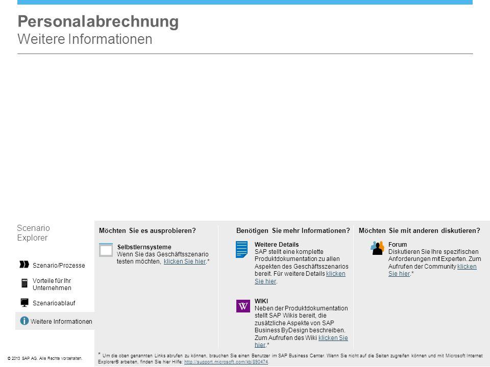 ©© 2013 SAP AG. Alle Rechte vorbehalten. Weitere Informationen Personalabrechnung Weitere Informationen Scenario Explorer Vorteile für Ihr Unternehmen