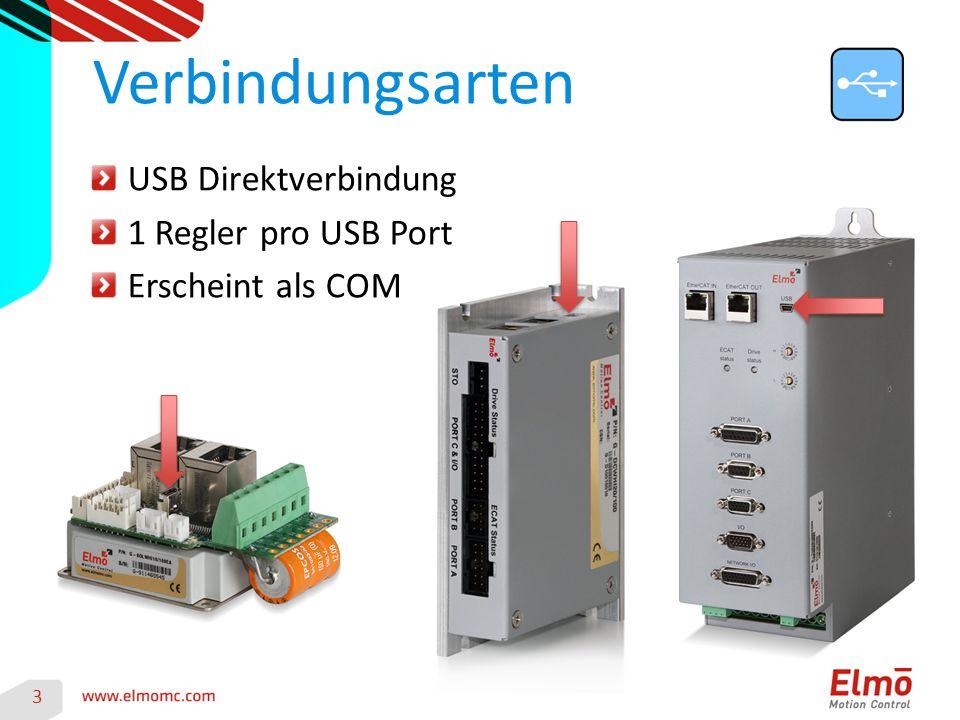 3 Verbindungsarten USB Direktverbindung 1 Regler pro USB Port Erscheint als COM