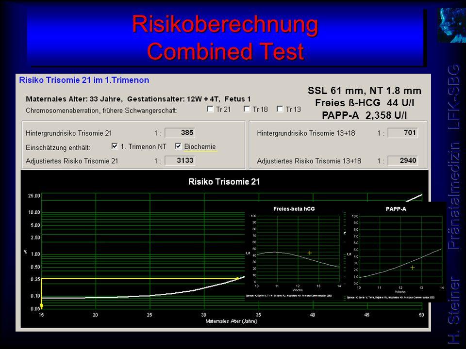 Risikoberechnung Combined Test SSL 61 mm, NT 1.8 mm Freies ß-HCG 44 U/l PAPP-A 2,358 U/l