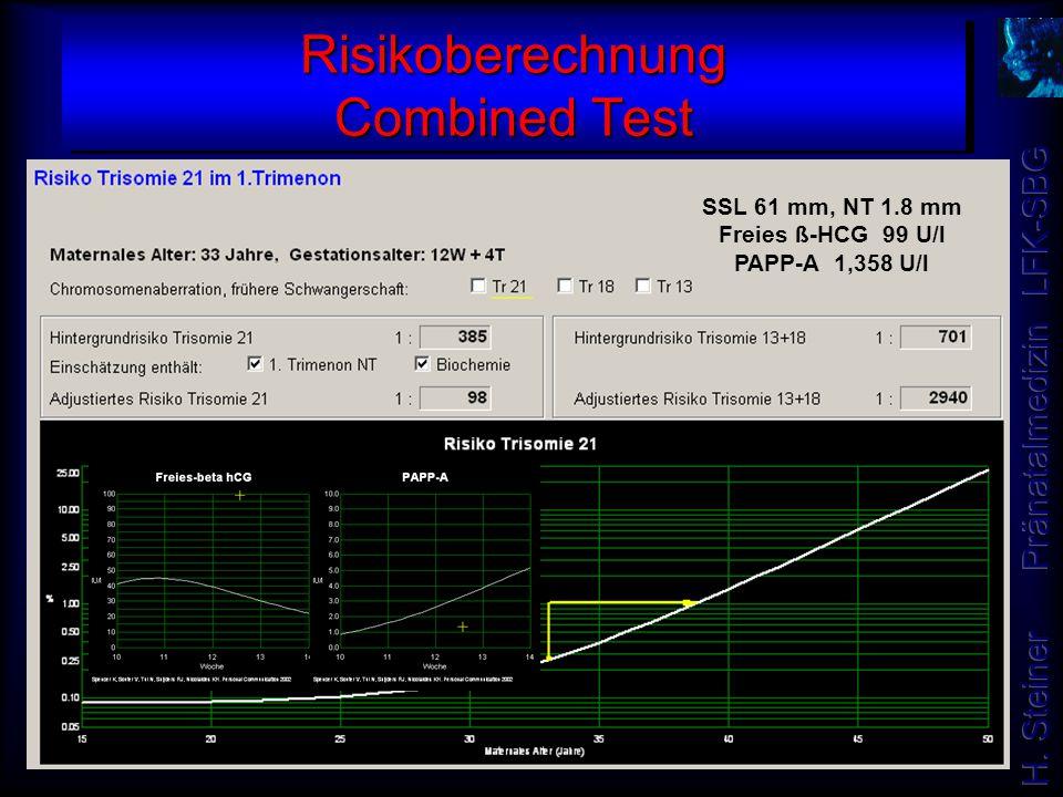 Risikoberechnung Combined Test SSL 61 mm, NT 1.8 mm Freies ß-HCG 99 U/l PAPP-A 1,358 U/l